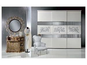 AR14 Novecento laccato armadio, Armadio classico laccato bianco con decori in foglia argento