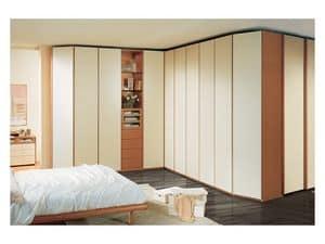 Armadio 26, Ampio armadio angolare per camera da letto, elementi a vista, ante laccate avorio