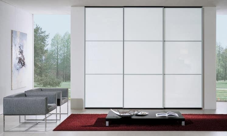 Armadio 90, Armadio guardaroba, ante scorrevoli in vetro laccato bianco, design moderno ed essenziale