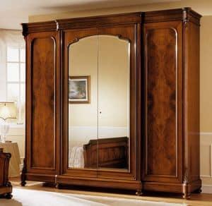 D'Este armadio, Armadio in legno di noce, classico di lusso, con specchiera