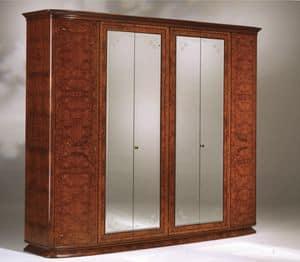 Flory armadio, Armadio in frassino olivato, con 6 ante e specchi