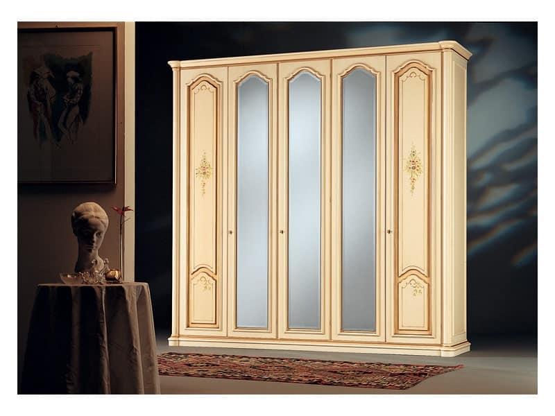 Rialto, Armadio classico, 3 ante a specchio, 2 ante in legno decorato a mano