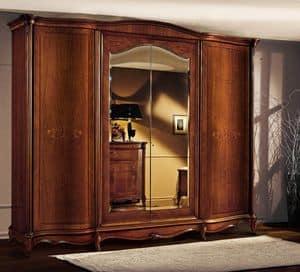 Roma armadio con ante curve, Armadio in legno con ante curve, in stile classico di lusso