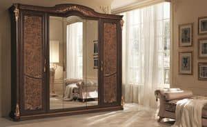 Sinfonia armadio grande, Armadio a 5 ante, con specchio e fregio in foglia oro