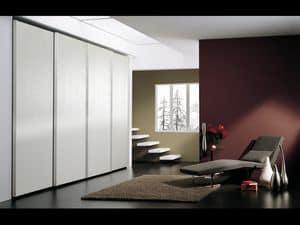 Armadio Coo 05, Armadio con 4 ante, in stile minimalista, per alberghi