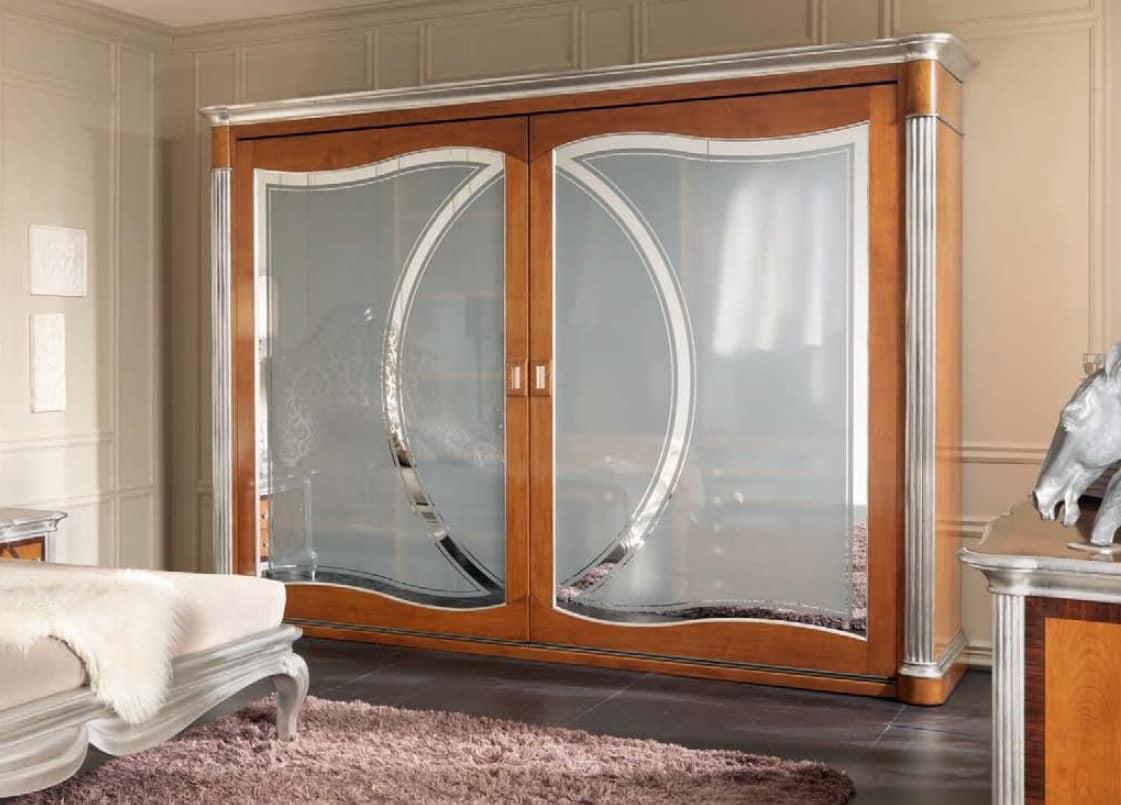 Armadio con 2 ante in vetro decorato, in stile classico ...