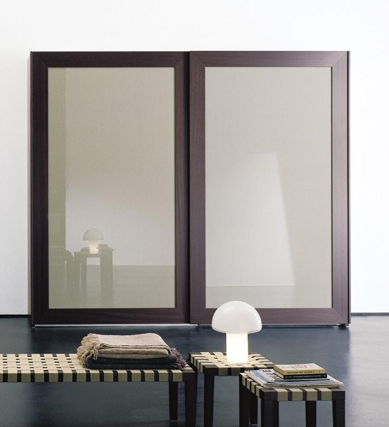 PASSE-PARTOUT, Armadio per camera da letto, porte con specchio incorniciato