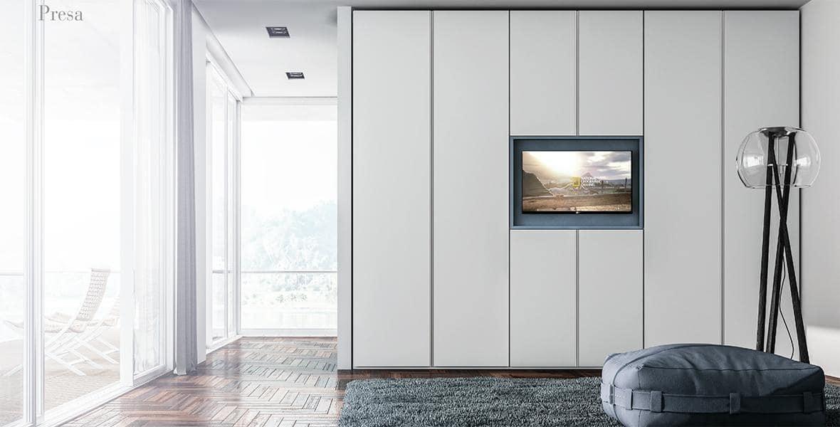 Armadio Con Porta Tv.Armadio In Melaminico Con Porta Tv Idfdesign