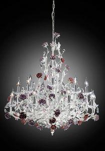 210112, Elegante lampadario bianco ed argento
