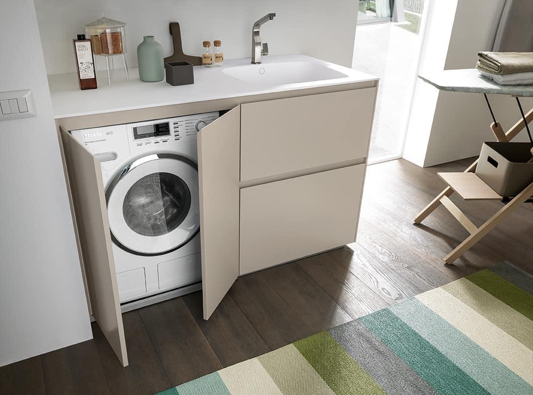 Mobile Bagno Con Colonna Lavatrice mobile compatto per lavanderia, con vano lavatrice | idfdesign