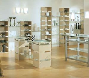 Aury 21/RE, Espositore moderno, ripiani in vetro, per negozi e boutiques