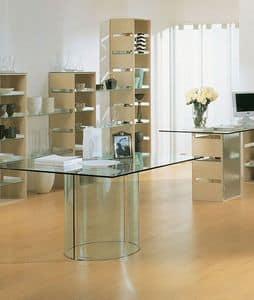 Aury 21/RT, Tavolo per negozi, piano rettangolare in vetro, base in vetro