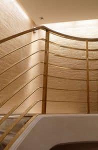 Scala ottone, Parapetto scala, realizzato su misura, in ottone con forma a spirale