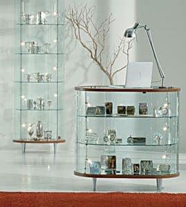 Top Line 3 203/OB, Banco vetrina ovale, base a specchio, per negozi