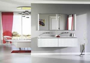 Plane 3D 01, Composizione da bagno laccata, con 2 lavabi