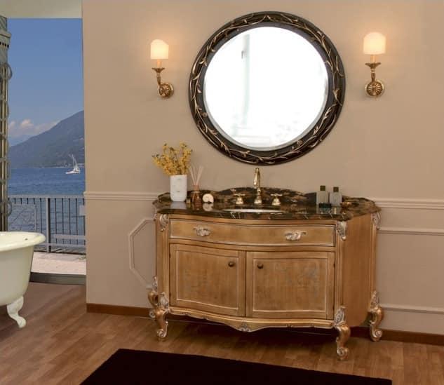 Art. 2700 Donatella, Mobile da bagno con piano in marmo, finitura foglia oro
