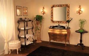 Art. 3110, Mobile da bagno in legno massello, piano in vetro