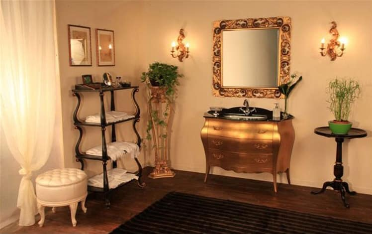 Mobile da bagno in legno massello, piano in vetro  IDFdesign
