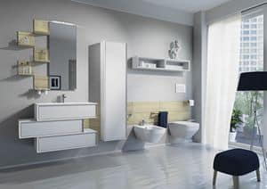 Domino 02, Mobili da bagno, con lavabo, zona water e bidet