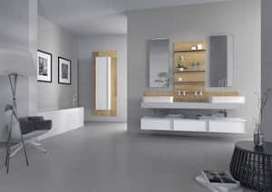 Domino 03, Arredo per bagno con 2 lavabi, finitura cemento
