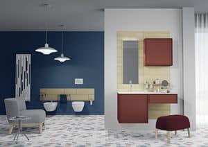 Domino 07, Arredamento per bagno, dai colori vivaci, con specchio