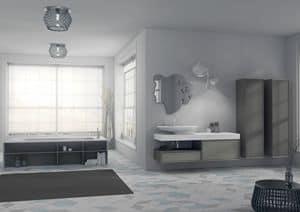Domino 11, Arredo da bagno, con specchio originale e lavabo