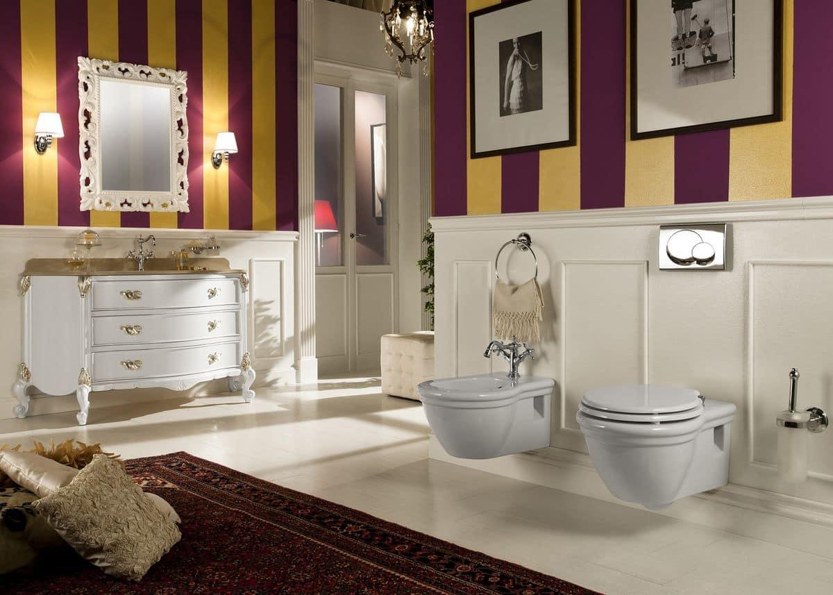 Julien, Arredo bagno in stile contemporaneo, con base in legno massello, laccata bianco lucido ...