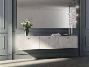 Kube 01, Mobile bagno con frontali finitura marmo di Carrara
