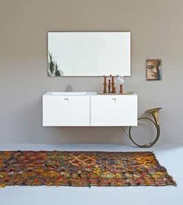 Kube 02, Mobile bagno minimale, con lavandino integrato, colore bianco