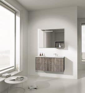 Singoli S 07, Composizione da bagno, con finiture in abete