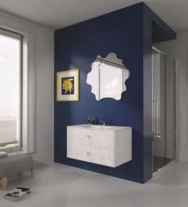 Singoli S 12, Composizione per bagno moderno, maniglie cromate