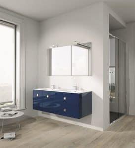 Singoli S 25, Composizione da bagno con finitura lucida, maniglie cromate
