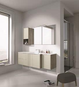 Singoli S 27, Arredamento da bagno con lavabo e armadi