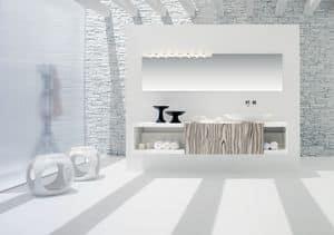 Slide 02, Base pensile per bagno, in bianco opaco, con anta scorrevole in zebrato bianco