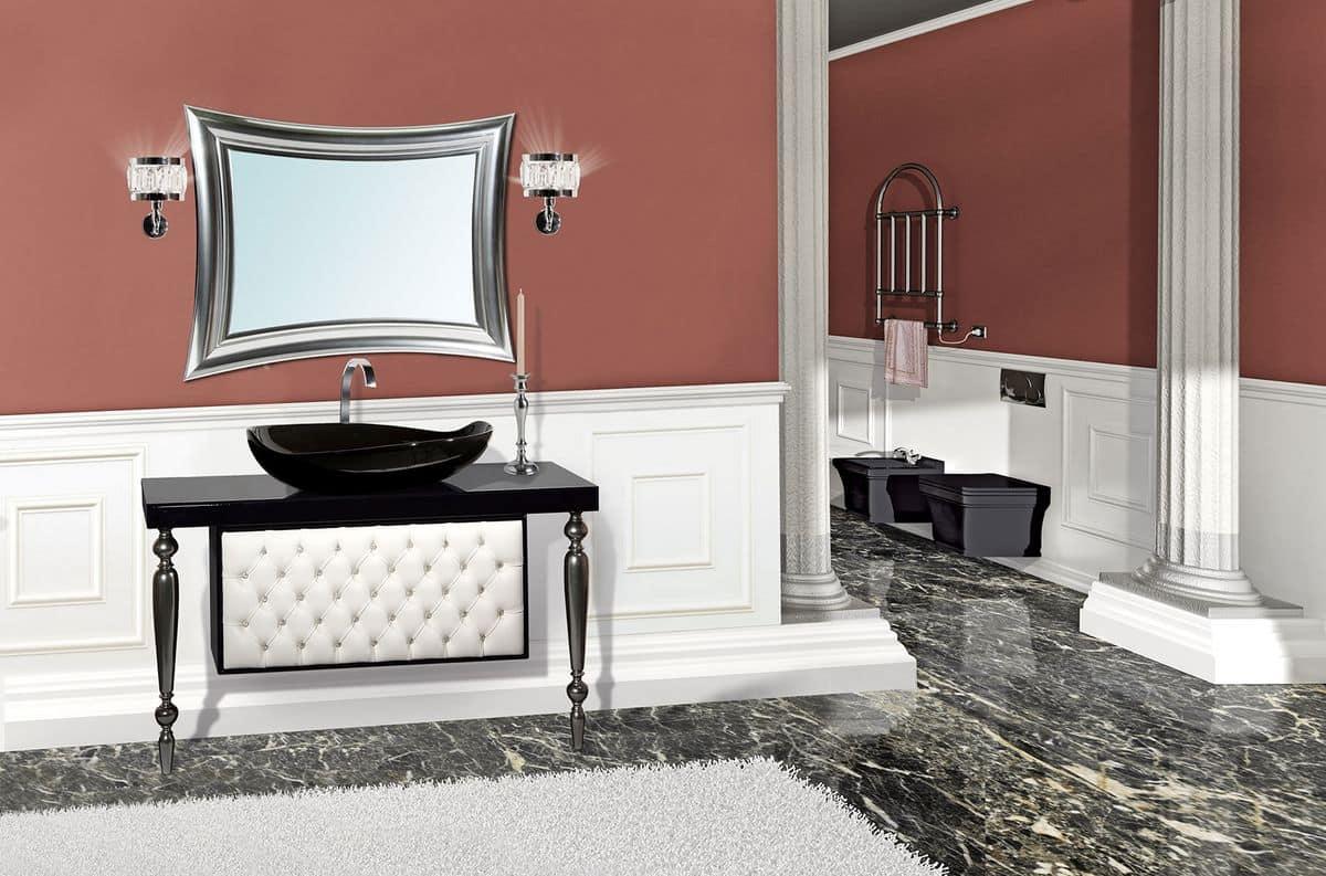 Vanity comp.05VA, Arredo bagno in stile classico contemporaneo, color nero lucido, piano in ...