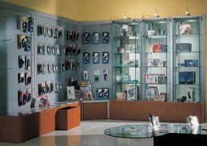 Overglass comp.02, Arredo negozio, con pannelli in lamiera perforata e panca