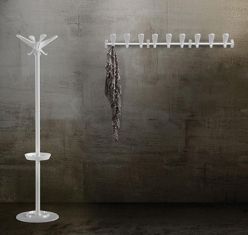 Swing appediabiti da parete, Appendiabiti da parete componibile in acciaio e tecnopolimero