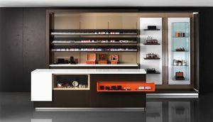 Revolution - banco cassa per tabaccherie ed edicole, Bancone per cassa negozio, con vetrina espositiva