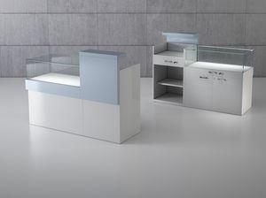COM/QF1, Bancone per negozio dalle dimensioni contenute, con vetrina