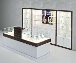 COM/QF12, Bancone per gioiellerie con vetrine sul retro