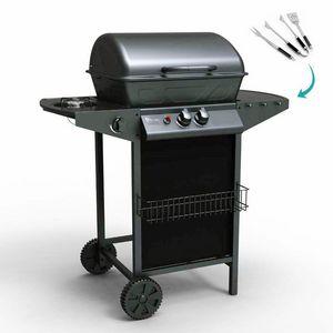 Barbecue BBQ a gas in acciaio inox con 2+1 bruciatori e griglia HOLSTEIN - BB2083GEUN, Barbeque a gas