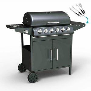 Barbecue BBQ a gas in acciaio inox con 6+1 bruciatori e griglia JERSEY - BB2089GEUN, Barbeque portatile