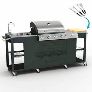Barbecue BBQ professionale a gas acciaio inox 4+1 bruciatori griglia e lavello BEEFMASTER - BB3554GEUN, Ampio bancone barbeque