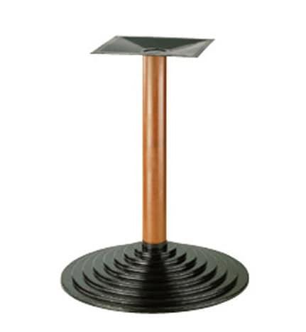 906, Base in metallo per tavolino, colonna in faggio, per pub