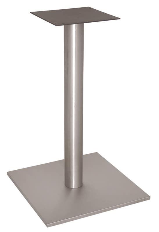 FT 070, Base quadrata per tavolo bar, in acciaio Inox satinato