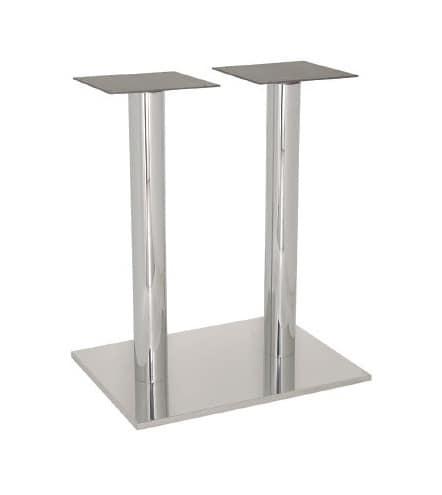 FT 070 Doppia Colonna, Base per tavolo da bar e gelateria, in acciaio INOX lucido