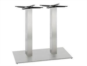 Inox.T 693, Base doppia per tavolo, in acciaio inox satinato o lucido