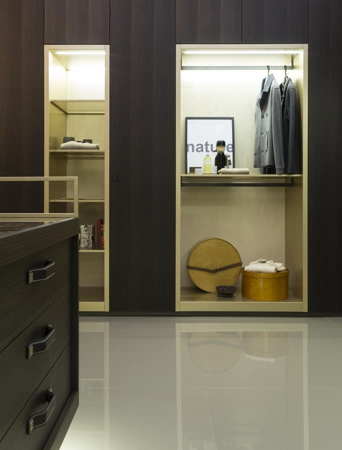VENICE comp.02, Cabina armadio, componibile, con dettagli in pelle