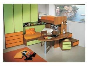 Cameretta 3, Cameretta con doppio letto, scrivania inclusa nella struttura a castello, finitura verde ed arancione