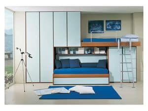 Cameretta 4, Cameretta con secondo letto estraibile, armadio a ponte, color celeste